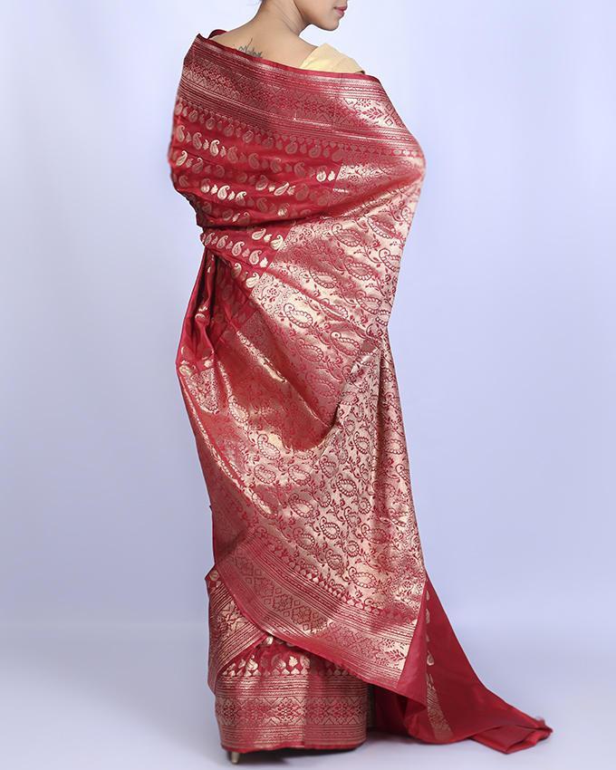 Katan Silk Party Saree - Red