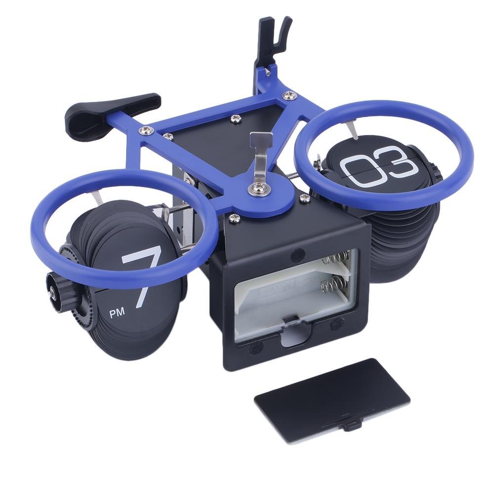 Colorful Bicycle Shape Flip Clock- Blue