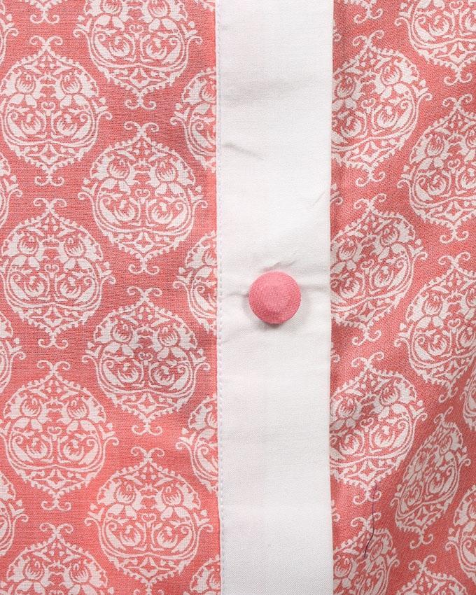 White And Pink Linen Salwar Kameez For Women