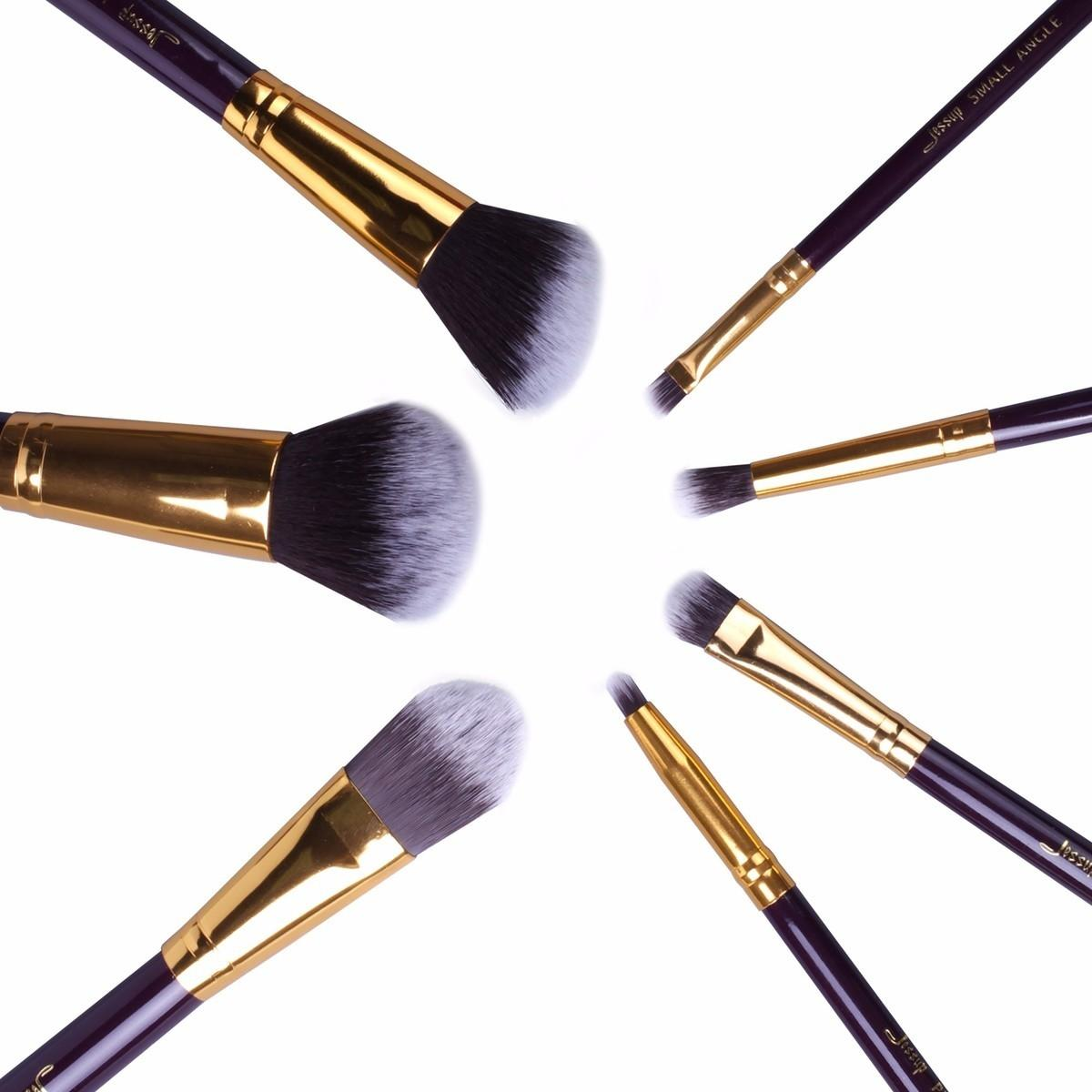 T107 7 PCs Travel Series Brush Set - Black and Golden