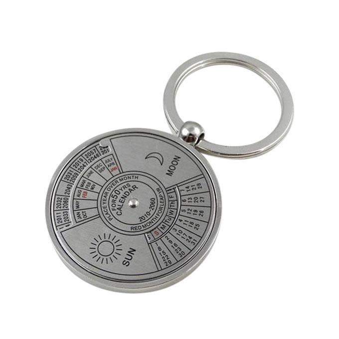 50 Year Calendar Key Ring - Silver