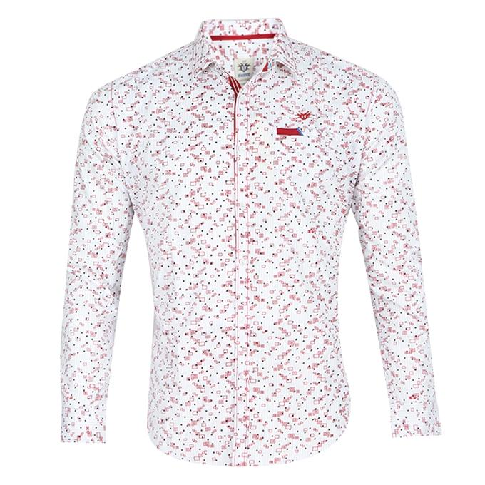 White and Red Cotton Shirt For Men
