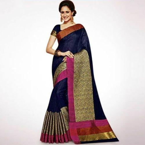 3d04ffaf06 Product details of Navy Blue and Golden Indian Embroidery Work Silk Katan  Saree For Women