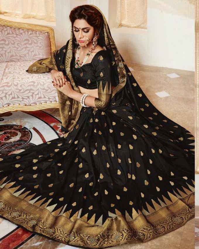 Black Silk Katan Saree for Women