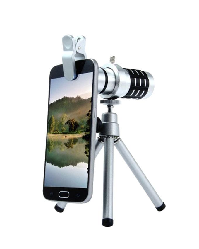 12 x Zoom Telescope Lens for Smart Phone - Silver