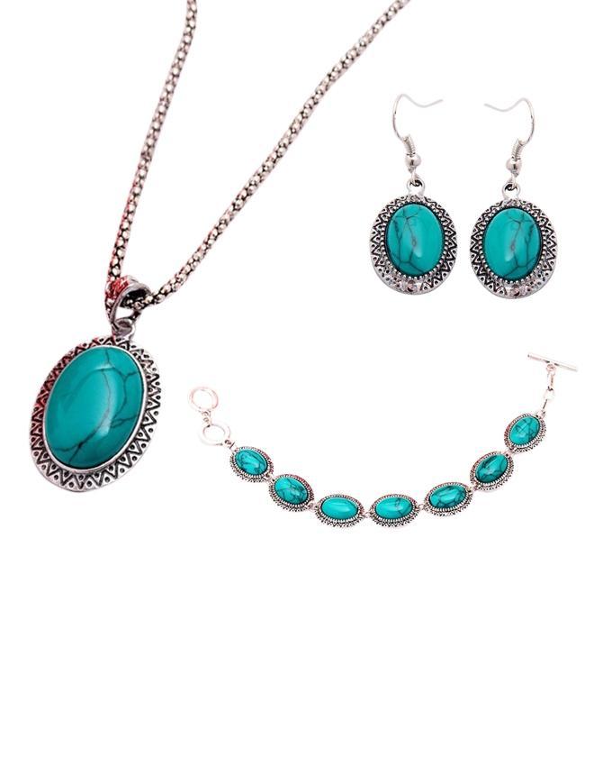Turquoise Acrylic Jewellery Set For Women