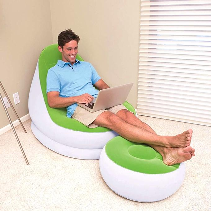 Inflatable Air Chair Sofa With Footrest - Lime