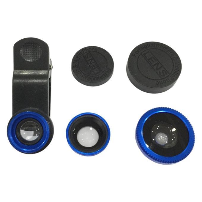 HiTz 3-in-1 Universal Clip Portable Lens For Smart Phone - Blue