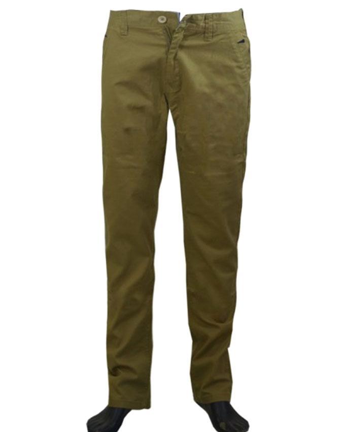 Olive Green Twill Gabardine Casual Pant For Men