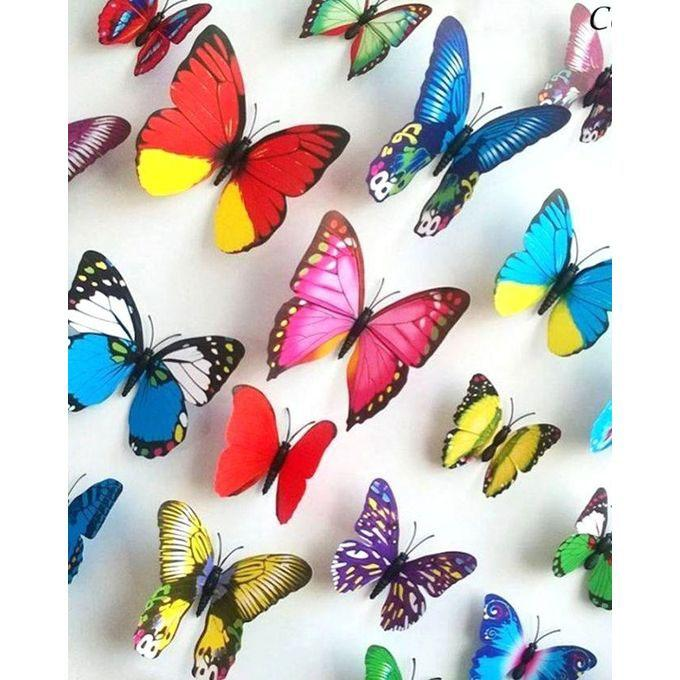 Plastic Butter Fly Wall Sticker - 12pc