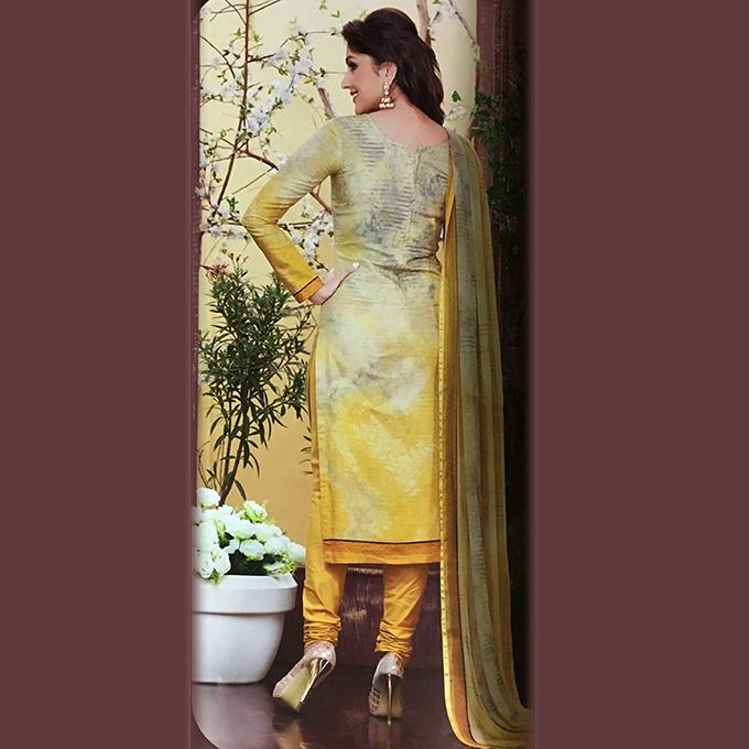 Yellow And White Cotton Unstitched Shalwar Kameez For Women