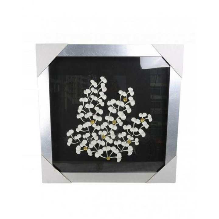 Metallic Floral Wall Decor - Black & White