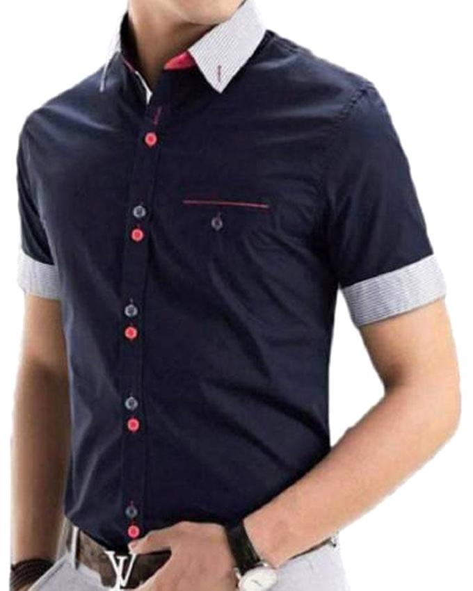 Navy Blue Cotton Short Sleeve Casual Shirt for Men