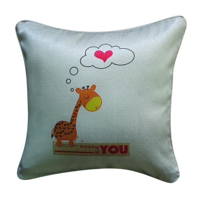 Thinking of You Printed Cushion Cover - Gray