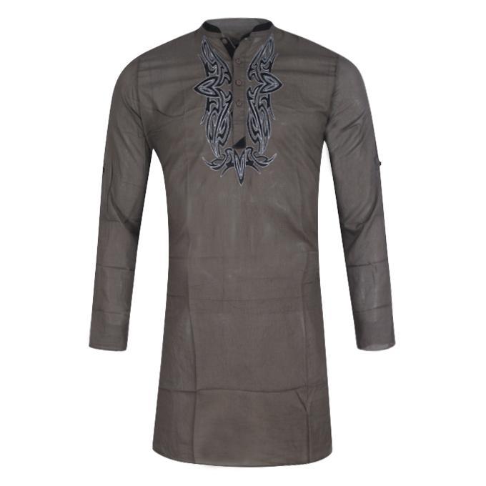 Dim Gray Cotton Panjabi For Men