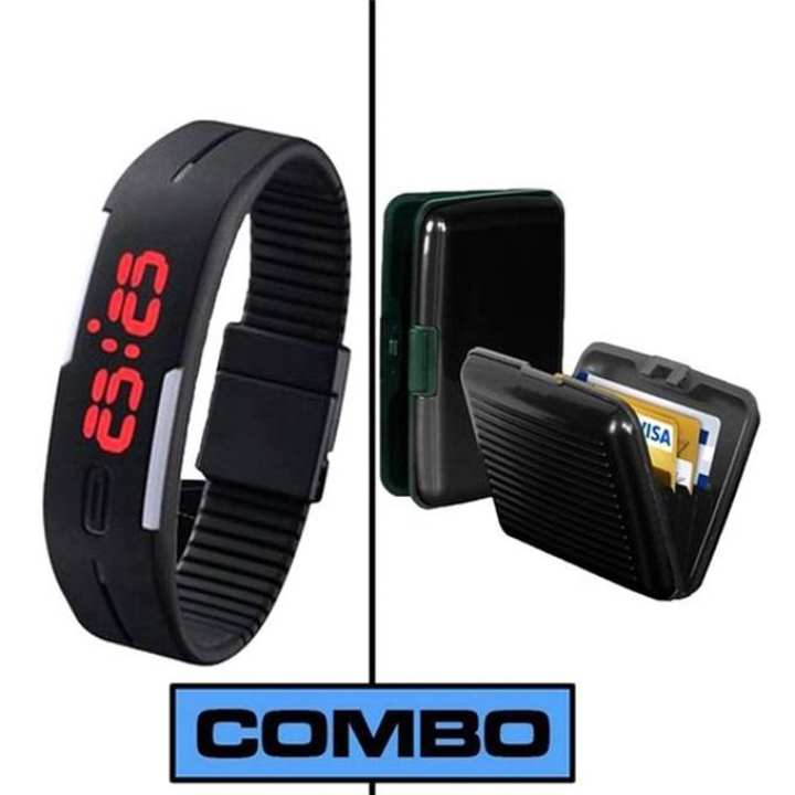 Combo Pack of 2 LED Watch and Card Holder For Men