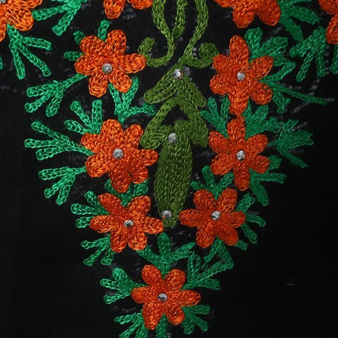 Black and Orange Cotton Semistitched Salwar Kameez For Women