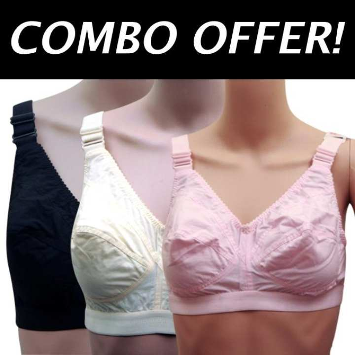 Pack of 3 Cotton Casual Bra For Women