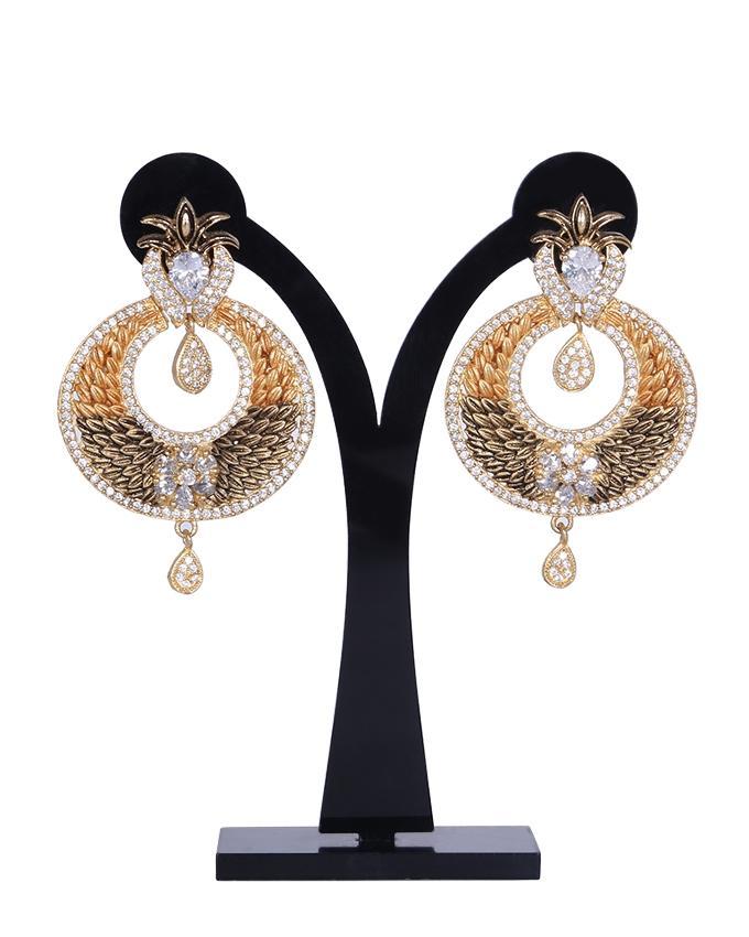 Diamond Cut Earrings For Women - Golden and Gray