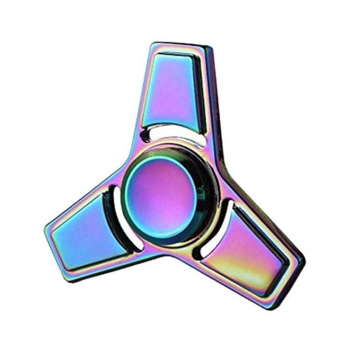 Rainbow Tri-Star Fidget Spinner Stress Reducer Toy - Multicolor
