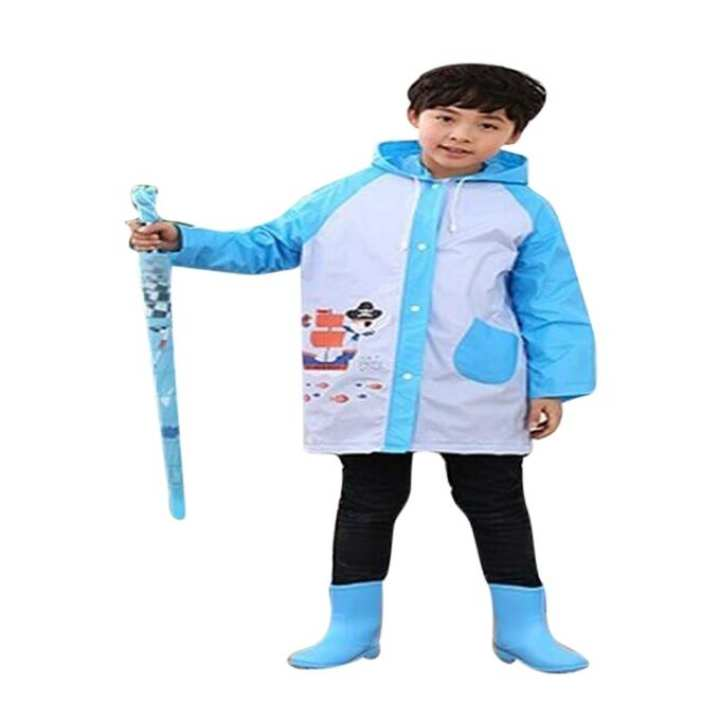 Blue and White PVC Polyester Raincoat for Kids
