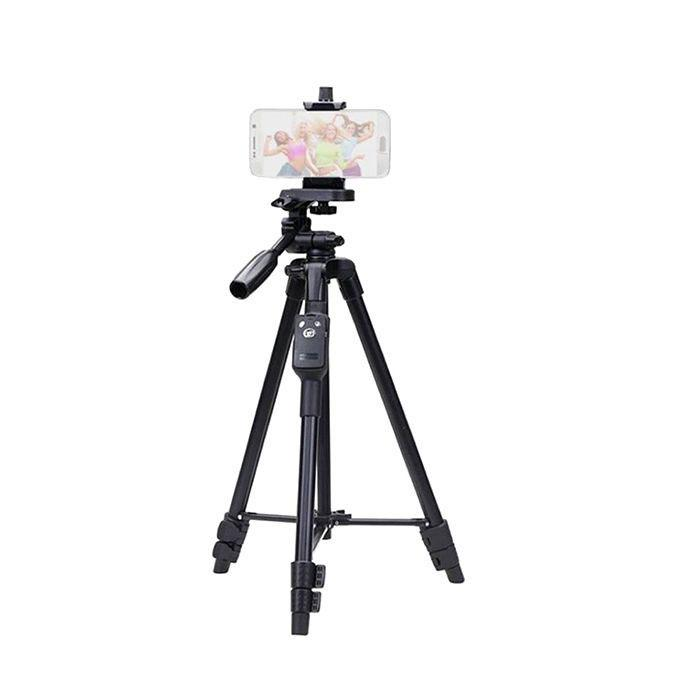 Aluminum Tripod With Bluetooth Remote for Camera and Mobile Phone - Black