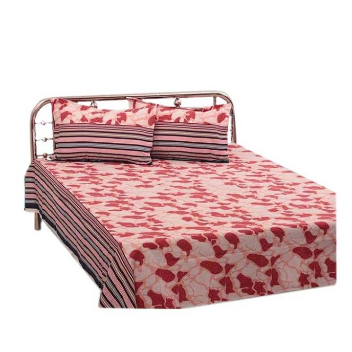 Cotton Double Size Bed Sheet Set with Two Pillow Covers - Multicolor