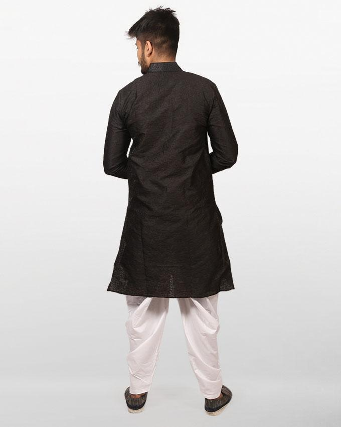 Black Braso Cotton Panjabi for Men