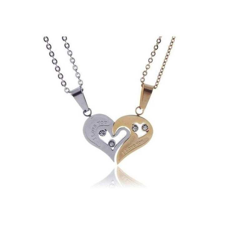 Golden and Silver Zinc Alloy Couples Heart Shape Necklace For Unisex