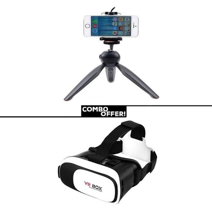 Combo of Mini Tripod with Phone Holder Clip and 3D Glasses VR BOX