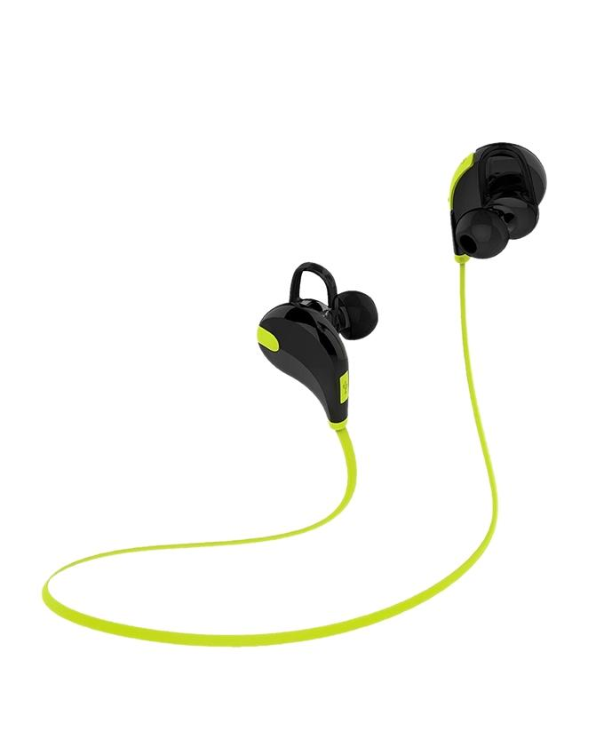 QY7 Bluetooth In-Ear Stereo Wireless Earphones - Black and Green
