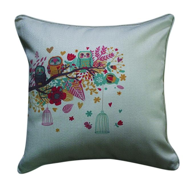 Owl Familly Printed Cushion Cover - Gray