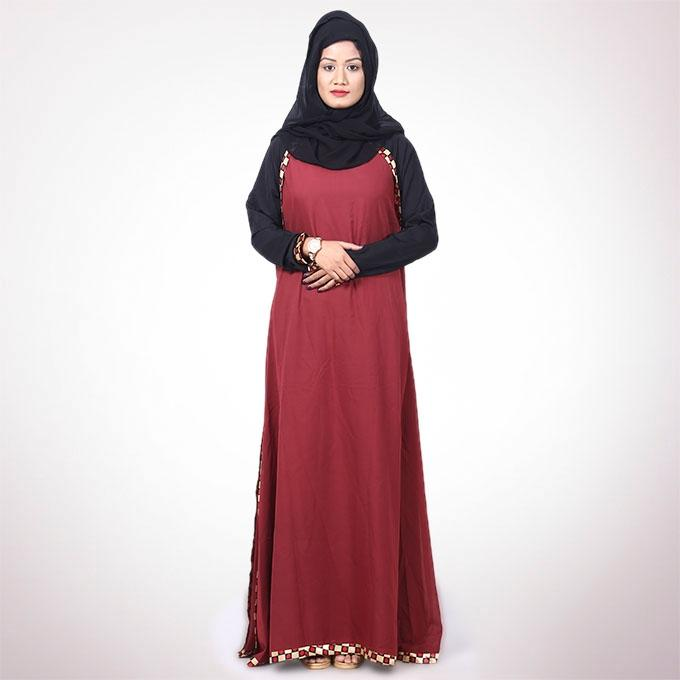 Red Polyester Borka For Women