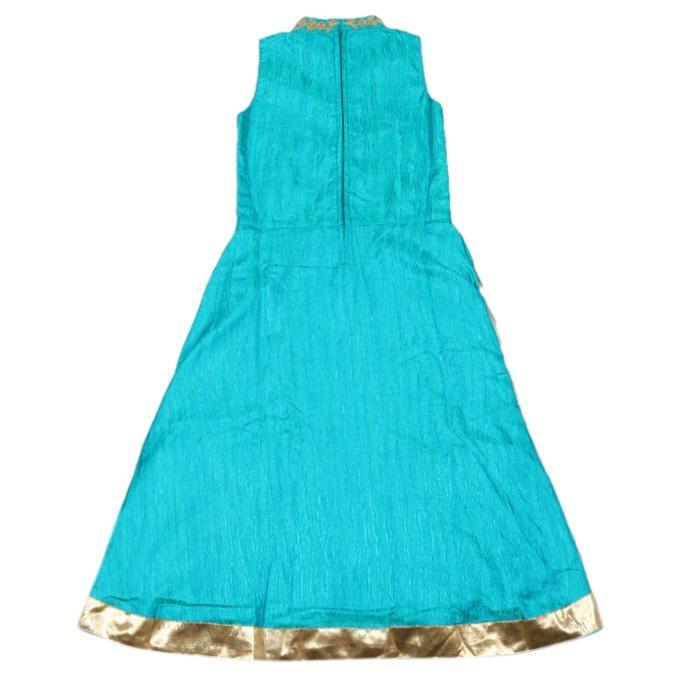 Deep Sky Blue Katan Casual Party Dress For Girls