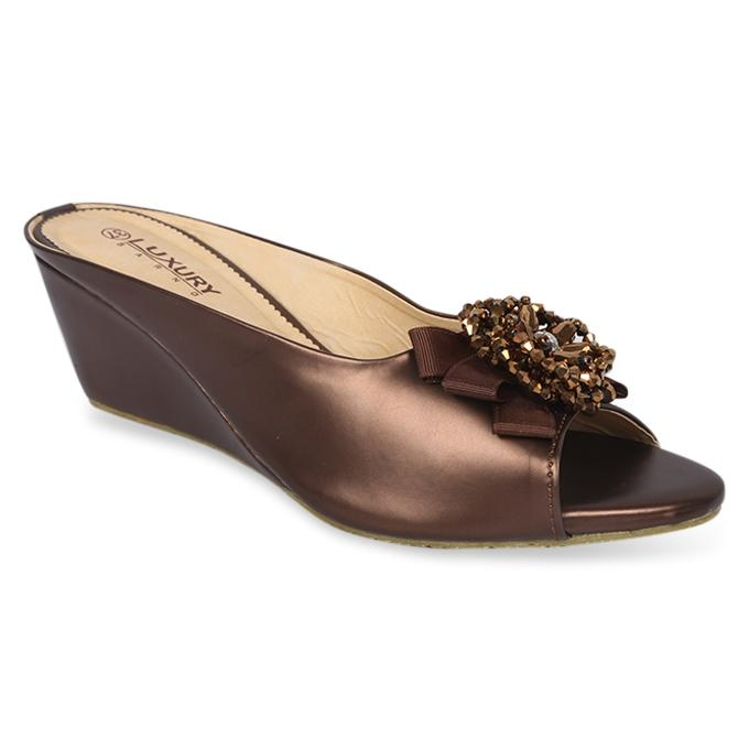 Coffee Artificial Leather Wedge for Women