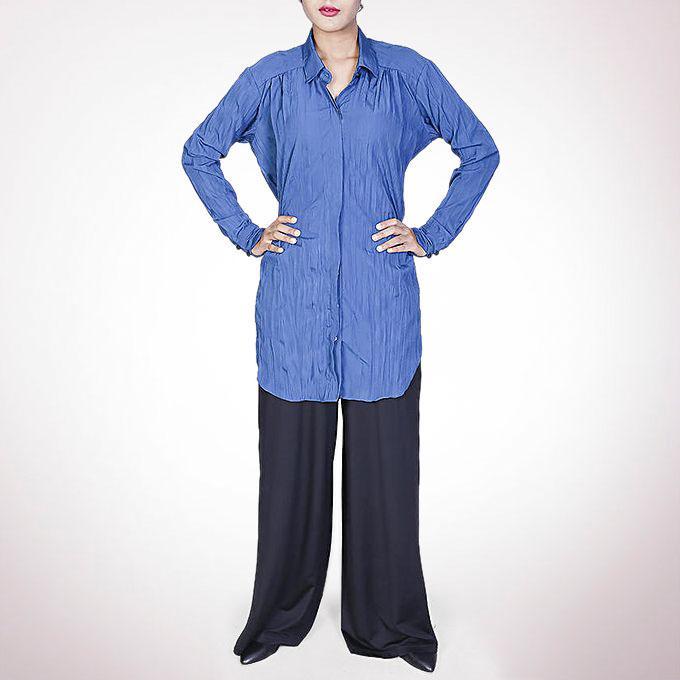 Crinkle Crepe Silk Long Shirt - Royal Blue