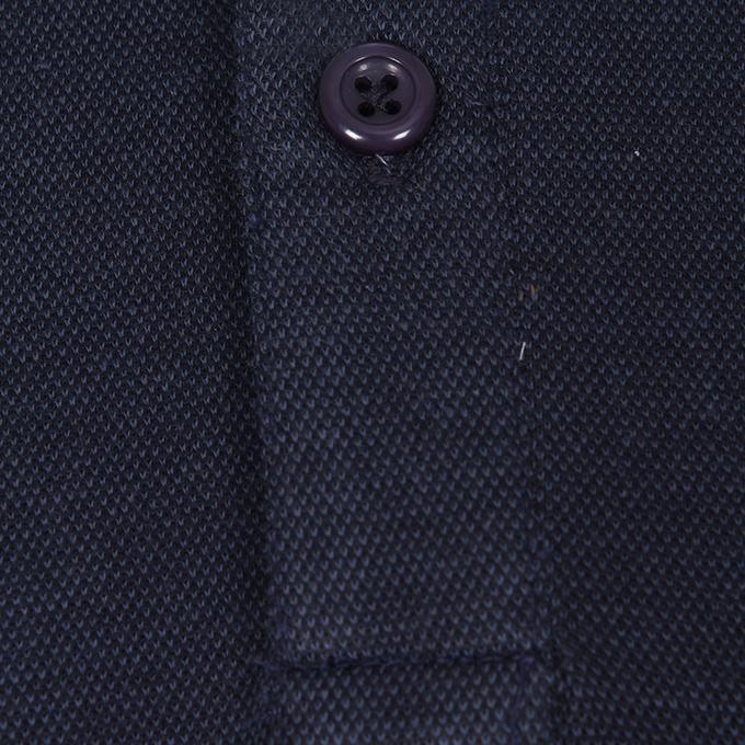 Navy Blue Cotton Casual Polo For Men