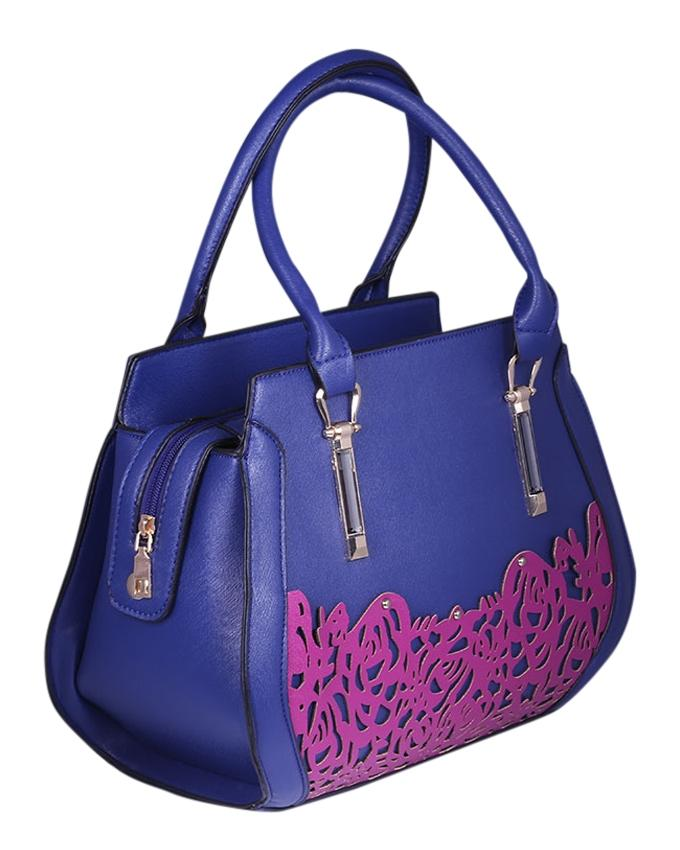 Leather Hand Bag For Women - Blue and Violet