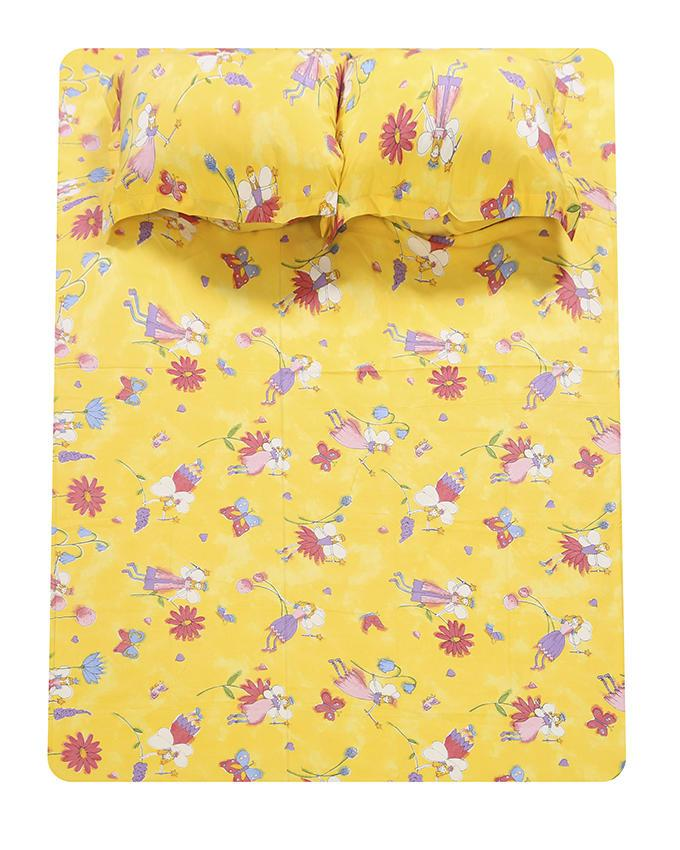 Cotton Printed Bed Sheet - Yellow