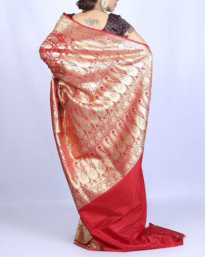 Katan Silk Bridal Saree - Red
