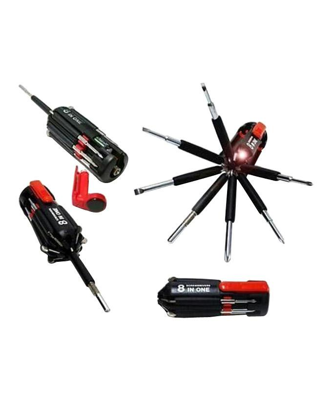 8 in 1 Multipurpose Screwdriver With Torch Light - Black and Red