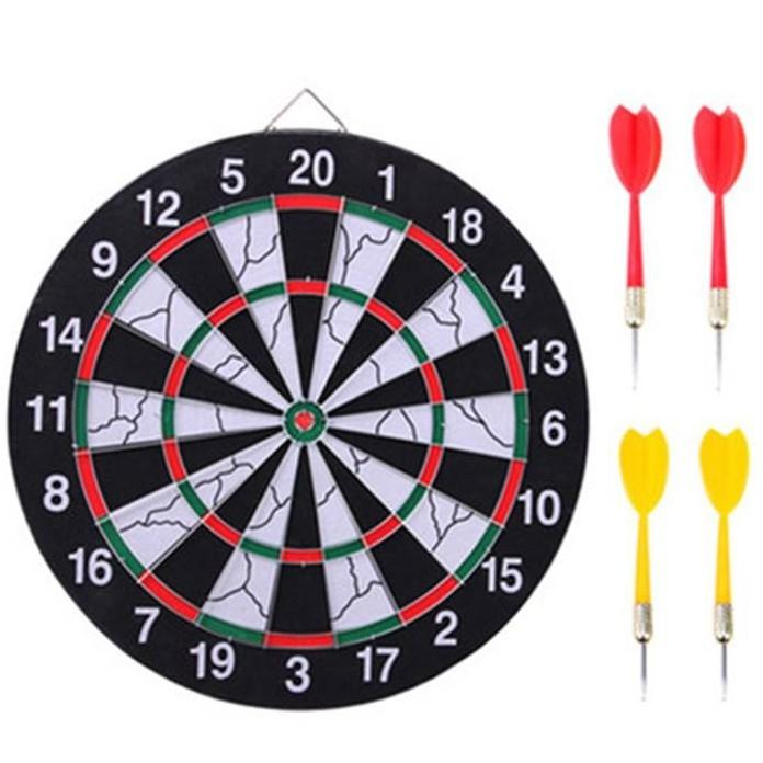 Big Size Wooden Dart Board and Bulls-eye Game with Darts-Black