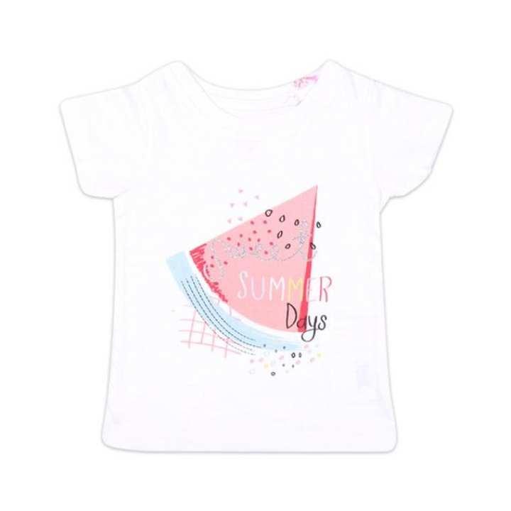 White Cotton Short Sleeve Tshirt For Girls