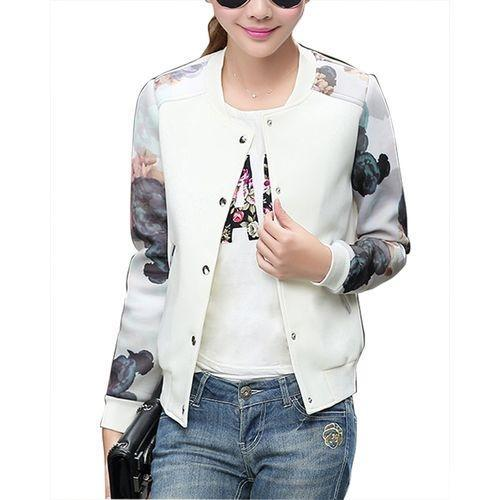 Thin Floral Print Patchwork Tops Baseball Coat for Women