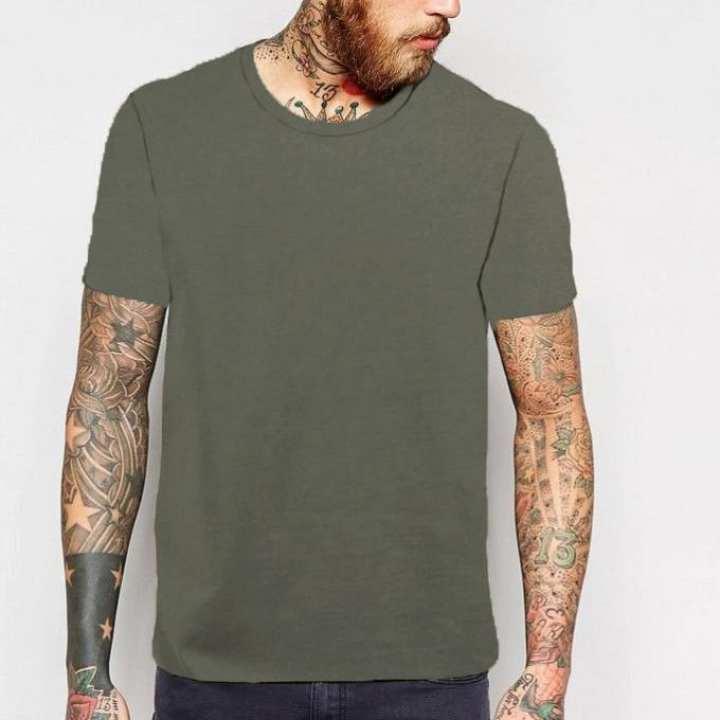 Olive Cotton Round Neck Short Sleeve T-Shirt for Men