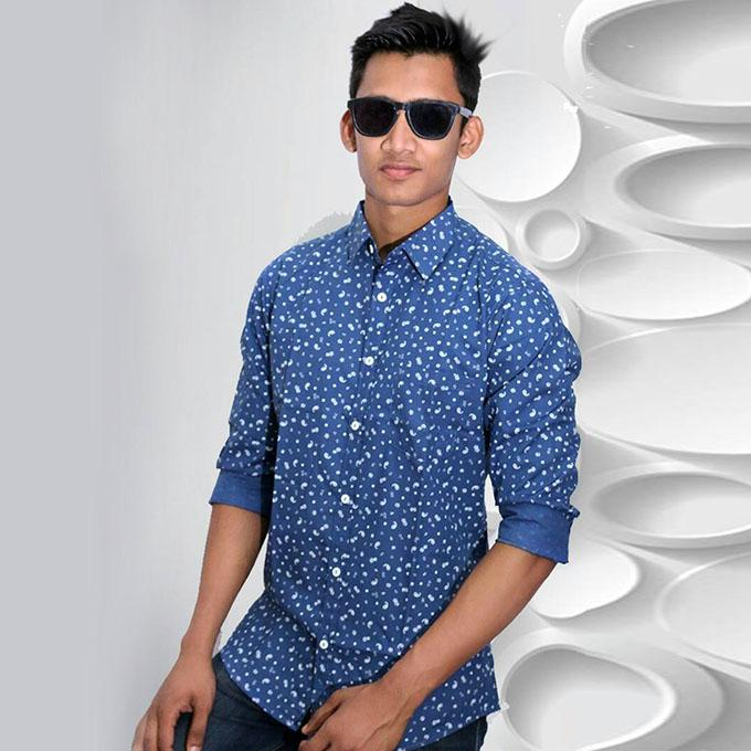 Navy Blue Printed Cotton Casual Long Sleeve Shirt For Men