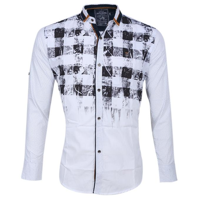 White and Black Cotton Shirt For Men