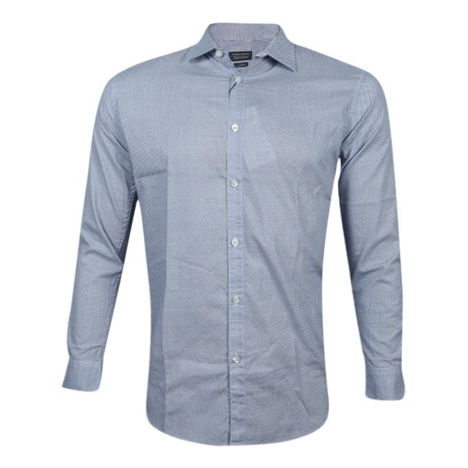 Printed Skyblue Cotton Long Sleeve Casual Shirt For Men