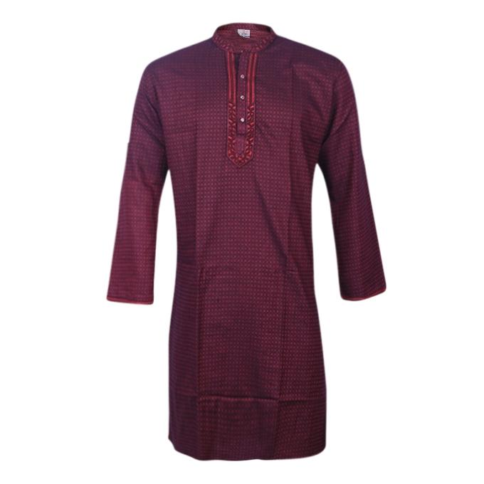 Dark Maroon Cotton Panjabi For Men