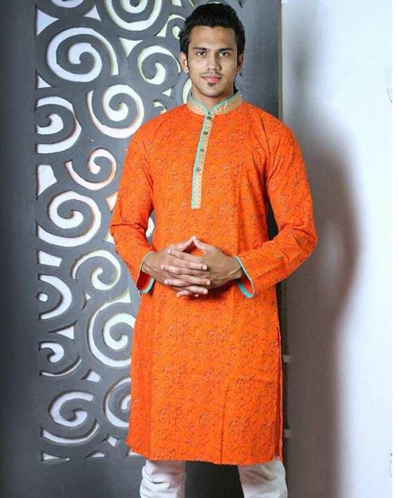 Cotton Casual Long Panjabi for Men - Orange